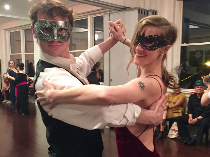 2018 Masquerade Ball - Annie and Dylan getting ready to compete in the Jack and Jill Dramatic Tango and Reverse Roles Rumba Dance Mixer