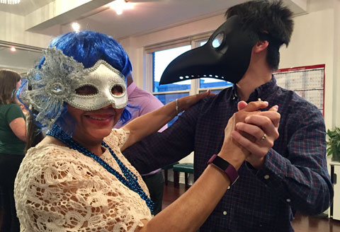 2018 Masquerade Ball - Michele and Daniel Partnering Up for the Group Class